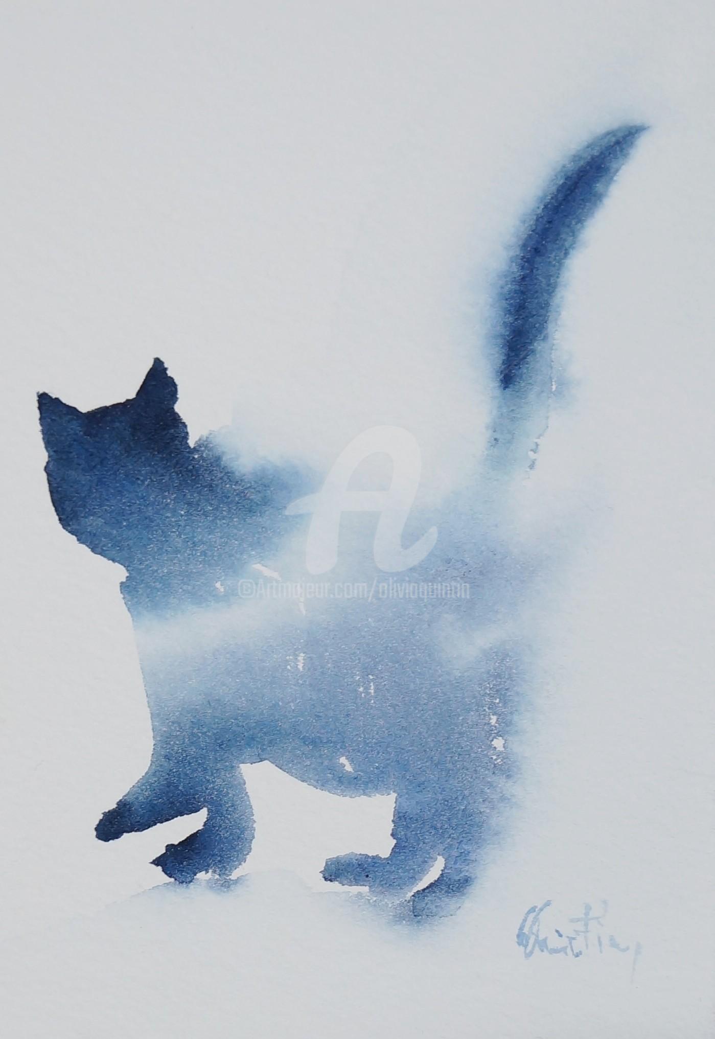 Olivia Quintin - chat flou bleu 1